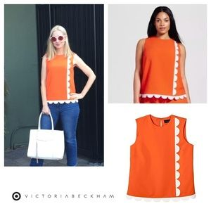 Victoria Beckham | Orange Scalloped Tank Blouse